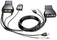 2-х портовый переключатель D-Link KVM с портами USB и VGA, предназначенный для управления 2 компьютерами,