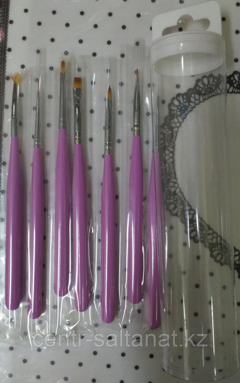 Набор кистей для дизайна ногтей в пенале