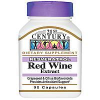 21st Century, Ресвератрол, экстракт красного вина, 200 мг. Антиоксидант 90 капсул