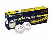 DOUBLE FISH 40+ 3*, 10 мячей в упаковке, белые. Для профессионалов (ITTF)
