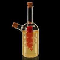 "Бутыль 2 в 1 для соусов и масла ""Фьюжн. Спираль"", ёмкости 250 мл, 30 мл, 8х8х18 см, фото 1"