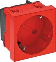 Розетка силовая 33° с кодом, одинарная 2К+З, 45х45 мм, со шторками, 16А 250В красная STD-D3K SRO1, фото 1