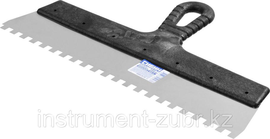 Шпатель нержавеющий СИБИН зубчатый, с пластмассовой ручкой, зуб 8х8мм, 350мм, фото 2
