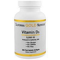 California Gold Nutrition, Витамин D3, Д3 5,000 МЕ, 360 капсул.
