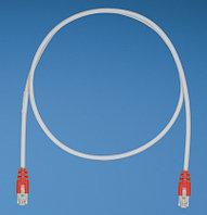 PANDUIT STPCH1MBRD Патч-корд TX5 STP, Cat.5e, с модульными разъёмами PAN-PLUG™ на обоих концах, 1 м, серый с красными колпачками