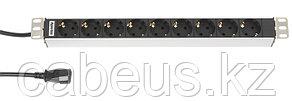 """Hyperline SHT19-9SH-2.5IEC Блок розеток для 19"""" шкафов, горизонтальный, 9 розеток Schuko (10A), 230 В, кабель"""