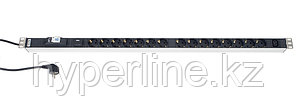 Hyperline SHT-15SH-1IEC-BF-2.5EU Блок розеток, 15 розеток + 1 х IEC320 C13, 16 A, автомат, защита от