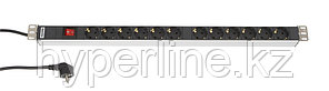 Hyperline SHT-12SH-S-2.5EU Блок розеток, 12 розеток, 16 A, выключатель, шнур 2.5м (700 x 44.4 x 44.4 мм)