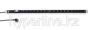 Hyperline SHT-12SH-4IEC-BF-2.5EU Блок розеток, 12 х DIN49440 + 4 х IEC320 C13, 16 A, автомат, защита от