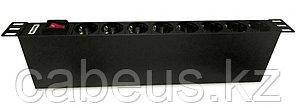 """Hyperline SHT19-8SH-S-IEC Блок розеток для 19"""" шкафов, горизонтальный, с выключателем с подсветкой, 8 розеток"""