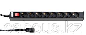 """Hyperline SHT19-8SH-S-2.5IEC Блок розеток для 19"""" шкафов, горизонтальный, с выключателем с подсветкой, 8"""