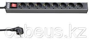 """Hyperline SHT19-8SH-S-2.5EU Блок розеток для 19"""" шкафов, горизонтальный, с выключателем с подсветкой, 8"""