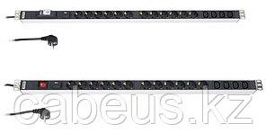 """Hyperline SHT19-7SH-IF-2.5EU Блок розеток для 19"""" шкафов, горизонтальный, с ф-ями контроля и защиты, 7 розеток"""
