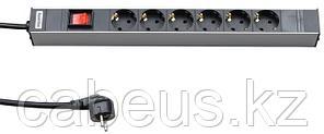 """Hyperline SHT19-6SH-S-2.5EU Блок розеток для 19"""" шкафов, горизонтальный, с выключателем с подсветкой, 6"""