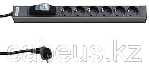 """Hyperline SHT19-6SH-B-2.5EU Блок розеток для 19"""" шкафов, горизонтальный, с автоматическим выключателем, 6"""