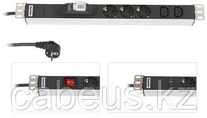 """Hyperline SHT19-7IEC-S-2.5EU Блок розеток для 19"""" шкафов, горизонтальный, с выключателем с подсветкой, 7 х IEC"""