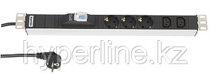 """Hyperline SHT19-3SH-2IEC-B-2.5EU Блок розеток для 19"""" шкафов, горизонтальный, с автоматическим выключателем, 3"""