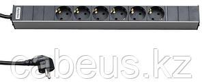 """Hyperline SHT19-6SH-2.5EU Блок розеток для 19"""" шкафов, горизонтальный, 6 розеток Schuko (16A), 230 В, кабель"""