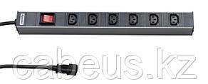 """Hyperline SHT19-6IEC-S-2.5IEC Блок розеток для 19"""" шкафов, горизонтальный, с выключателем с подсветкой, 6 х"""