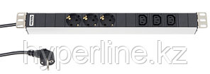 "Hyperline SHT19-3SH-3IEC-2.5EU Блок розеток для 19"" шкафов, горизонтальный, 3 х Schuko (16A) + 3 x IEC 320 C13"
