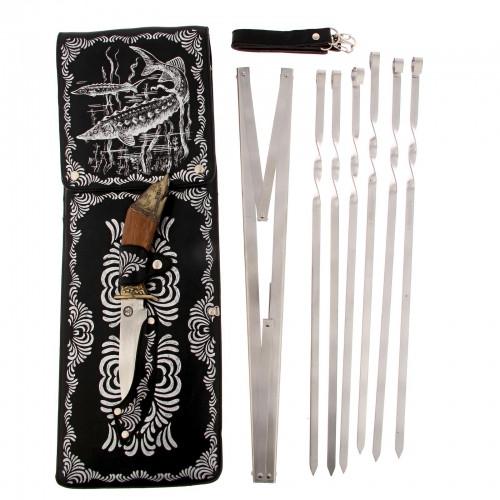 """Набор для шашлыка """"Осетр"""" (6 шампуров,мангал, нож) 58Х20Х3,5 см"""