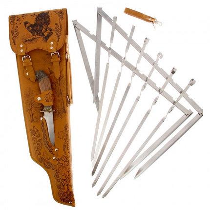 """Набор для шашлыка """"Глухарь"""" (6 шампуров, нож) 69,5Х20,5Х3,5 см, фото 2"""