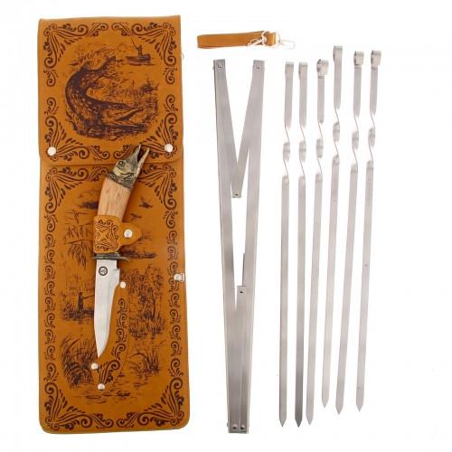 """Набор для шашлыка """"Щука"""" (6 шампуров,мангал, нож) 58Х20Х3,5 см"""
