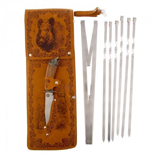 """Набор для шашлыка """"Кабан"""" (6 шампуров,мангал, нож) 58Х20Х3,5 см"""