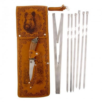 """Набор для шашлыка """"Кабан"""" (6 шампуров,мангал, нож) 58Х20Х3,5 см, фото 2"""