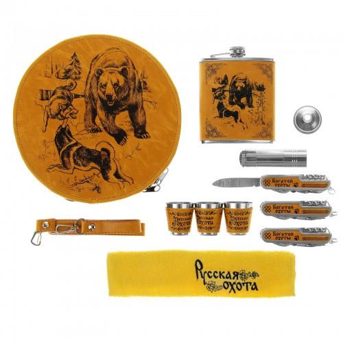 """Сумка-набор круглая """"Медведь и собаки"""" на 3 персоны (10 предметов)"""