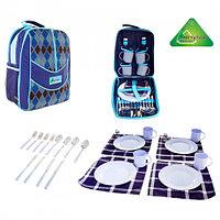 Рюкзак-холодильник с набором для пикника Premium 11, на 4 персоны