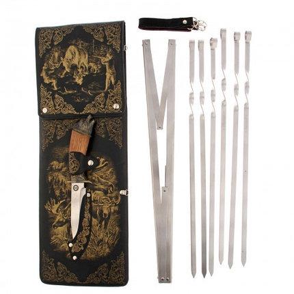 "Набор для шашлыка ""Охота на лося"" (6 шампуров,мангал, нож) 58Х20Х3,5 см, фото 2"