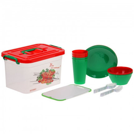 Набор для пикника на 4 персоны (контейнер 6,5 л), 22 предмета, фото 2