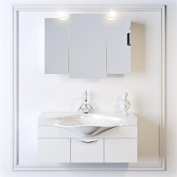 Зеркальный шкаф Aqwella Broadway 100 со светильником (Brw.04.10) - фото 2
