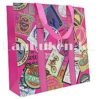 """Подарочный пакет """"Путешествия"""" 28*28 см (розовый)"""