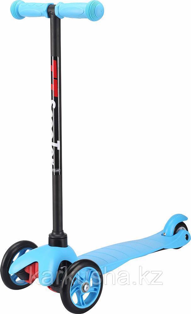Самокат трехколесный 21st scooter maxi со светящимися колесами синий/голубой