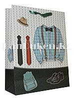 """Подарочный пакет """"Мужской стиль"""" с зелеными ручками 31* 40 см"""