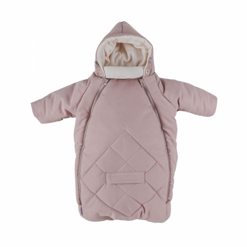 MAMMIE Конверт для новорожденного с капюшоном Пудровый экозамша Осень Зима