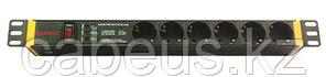 """DKC / ДКС R519SH6OPSHSP Блок розеток для 19"""" шкафов, 6 розеток Schuko, защита от перенапряжения, индикация"""