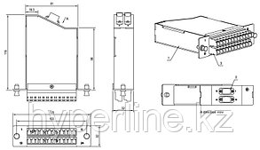 Hyperline FO-CSS-W120H32-9-2MTPM-24LC-BL Волоконно-оптическая кассета MTP (папа), 120x32 мм, 24LC адаптера