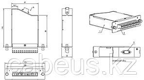Hyperline FO-CSS-W120H32-9-1MTPM-12LC-BL Волоконно-оптическая кассета MTP (папа), 120x32 мм, 12LC адаптеров