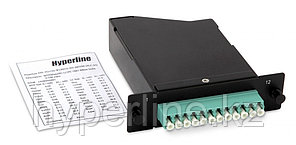 Hyperline FO-CSS-W120H32-503-1MTPM-12LC-AQ Волоконно-оптическая кассета 1xMTP (папа), 120x32 мм, 12LC