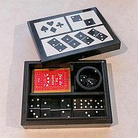 Шкатулка с домино, картами и кубиками  Resin Box With Dices Cards And Dominos