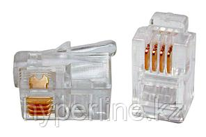 """Hyperline PLUG-4P4C-P-C2-100 Телефонный разъем RJ-11(4P4C) (3 µ""""/ 3 микродюйма) для телефонной трубки (100 шт)"""