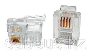 """Hyperline PLUG-6P4C-P-C2-100 Телефонный разъем RJ-12(6P4C) (3 µ""""/ 3 микродюйма) (100 шт)"""
