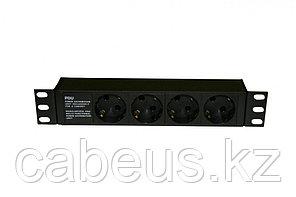 """Hyperline SHE10-4SH-IEC Блок розеток 10"""", 250В, 1U, 16А, 4 розетки Schuko, алюминиевый корпус, разъем IEC"""
