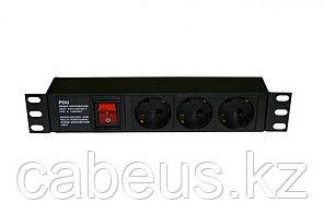 """Hyperline SHE10-3SH-S-IEC Блок розеток 10"""", 250В, 1U, 16А, 3 розетки Schuko, с выключателем, алюминиевый"""