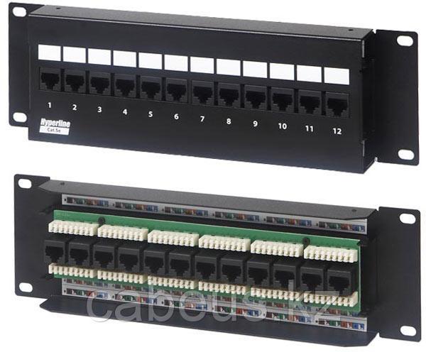 Hyperline PPW-12-8P8C-C5e-FR Патч-панель настенная c передним монтажом, 12 портов RJ-45(8P8C), категория 5e