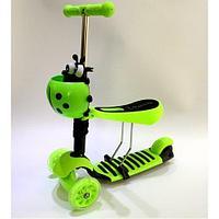 Самокат Scooter трехколесный 3 в 1 зеленый