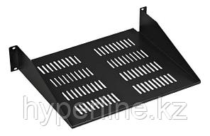 """Hyperline TASG1-380-RAL9004 Полка угловая с перфорацией 19"""", 1U, ширина 444 мм, глубина 381 мм, цвет черный"""